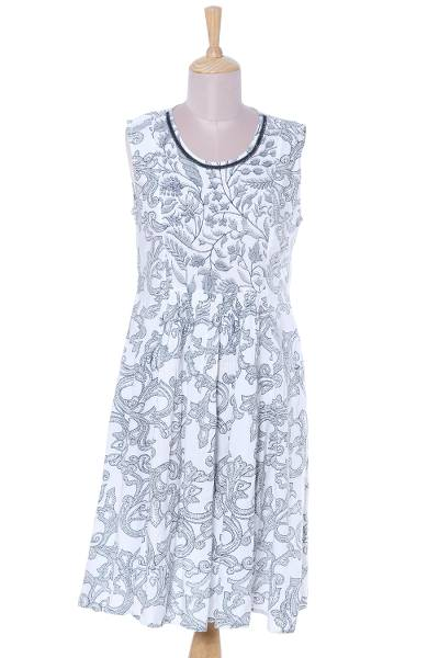Viscose sundress, 'Azure Vines' - Viscose Dress with Printed Vine Motifs in Azure from India