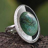 Chrysocolla cocktail ring, 'Dual Moon' - Chrysocolla Cocktail Ring