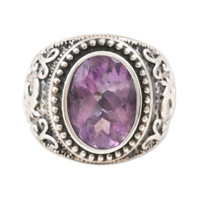 Amethyst single-stone ring, 'Om Glitter' - Om-Themed Amethyst Single-Stone Ring from India