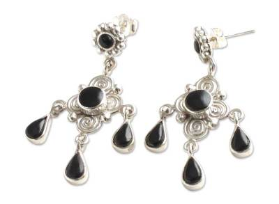 Obsidian chandelier earrings,
