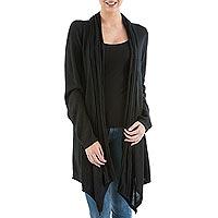Cardigan sweater, 'Black Waterfall Dream' - Long Sleeved Black Cardigan Sweater from Peru