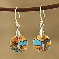 Composite turquoise dangle earrings, 'Moon of Mystery'