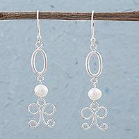 Cultured pearl dangle earrings, 'Bright White' - Cultured Pearl and Sterling Silver Dangle Earrings