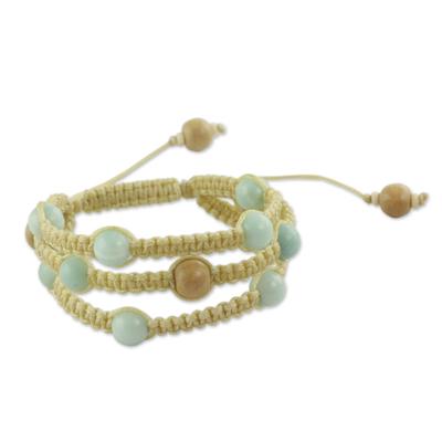 Fair Trade Macrame Amazonite Shambhala-style Bracelet