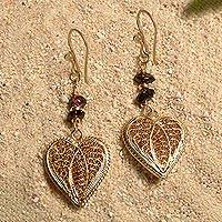 Gold plated garnet dangle earrings, 'Passionate Devotion' - Handcrafted Gold Plated Filigree Heart Earrings