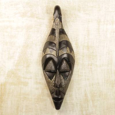 African wood mask, 'Back to My Roots' - Hand Carved Black Sese Wood Wall Mask with Bird from Ghana