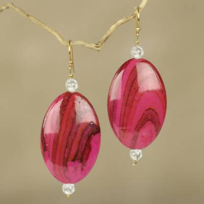 Beaded dangle earrings, 'Odopa in Rose' - Eco Friendly Dangle Earrings Crafted from Recycled Plastic