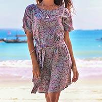 Rayon batik shift dress, 'Gingko Leaf'