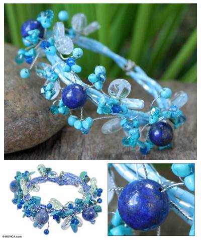 Turquoise and quartz beaded bracelet, Blue Forest
