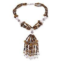 Tiger's eye and cultured pearl Y-necklace, 'Gold Fall' - Tiger's Eye and Pearl Y-necklace