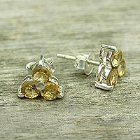 Citrine stud earrings, 'Chennai Stars'
