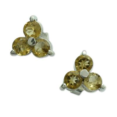Citrine stud earrings, 'Chennai Stars' - Hand Made Sterling Silver and Citrine Stud Earrings