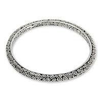 Sterling silver bangle bracelet, 'Temple' (Medium) - Artisan Crafted Sterling Silver Bangle Bracelet (Medium)