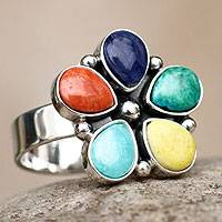 Gemstone flower ring, 'Andean Bloom' - Artisan Crafted Multi-gem Sterling Silver Ring