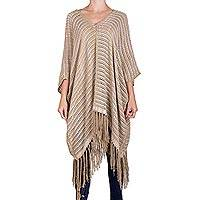 Cotton poncho, 'Element in Clay'
