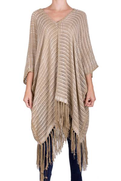 Cotton poncho, 'Element in Clay' - Woven Brown and Ivory Cotton Poncho from Guatemala