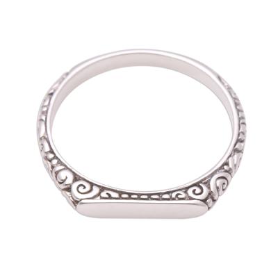 Sterling silver band ring, 'Intaglio Curls' - Swirl Pattern Sterling Silver Band Ring from Bali