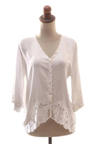 Rayon blouse, 'White Blossom' - Floral Embroidered White Rayon Blouse from Bali