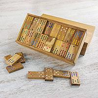 Wood domino set, 'Colorful Dominoes'
