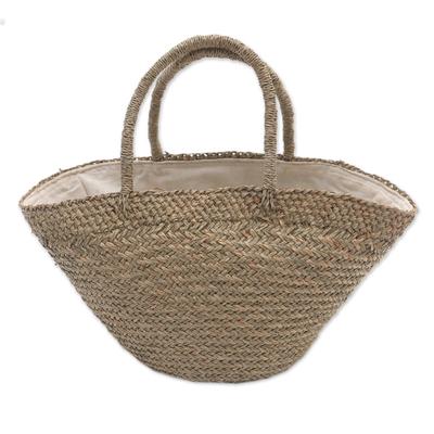 Handmade Natural Fiber Tote Handbag from Bali