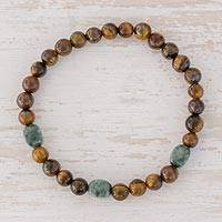 Jade and tiger's eye beaded stretch bracelet, 'Authentic Beauty'