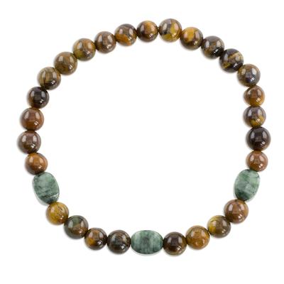 Jade and tiger's eye beaded stretch bracelet, 'Authentic Beauty' - Jade and Tiger's Eye Beaded Stretch Bracelet from Guatemala