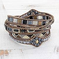 Glass beaded wrap bracelet, 'Country Travels'