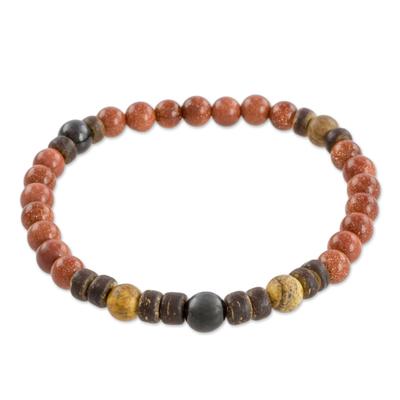 Jasper and jade beaded stretch bracelet,