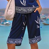 Rayon batik shorts, 'Midnight Fall'