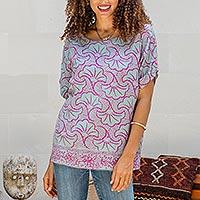 Rayon batik shirt, 'Gingko Leaf'