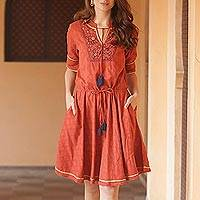 Cotton A-line dress, 'Delhi Spring in Russet'