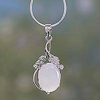Chalcedony pendant necklace, 'Moon Goddess Charm'