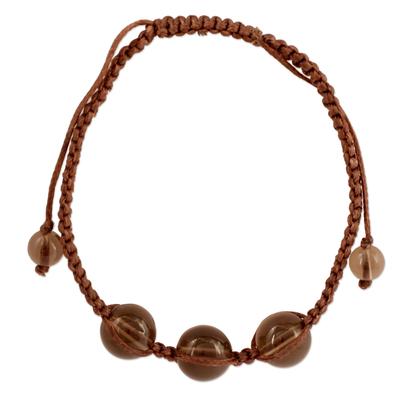 Unique Smoky Quartz Shambhala-style Bracelet