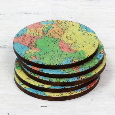 Wood coasters, 'Round Map' (set of 5) - 5 Round Laminated Wood Coasters of World Map from India
