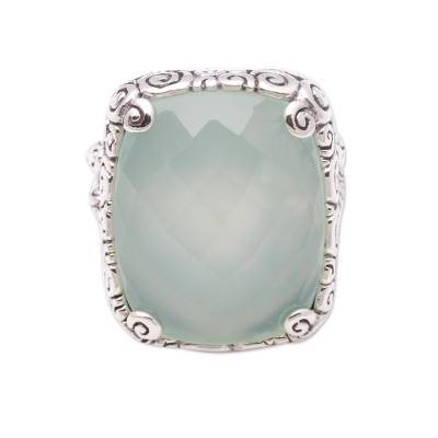 15-Carat Blue Chalcedony Cocktail Ring from Bali