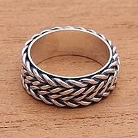 Sterling silver band ring, 'Foxtail Twins' - Foxtail Pattern Sterling Silver Band Ring from Bali