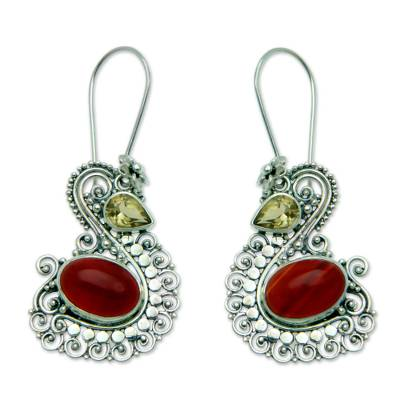 Carnelian and citrine dangle earrings, 'Balinese Swan' - Silver Swan Earrings with Carnelian and Citrine