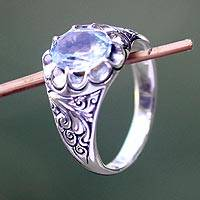 Blue topaz flower ring, 'Beratan Sky'