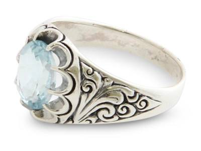Blue topaz flower ring,