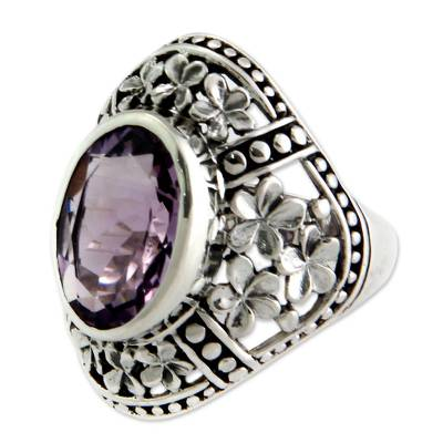 Amethyst flower ring, 'Silence' - Sterling Silver and Amethyst Flower Ring from Bali