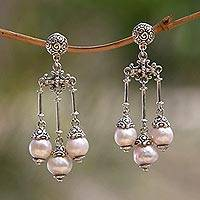 Cultured pearl chandelier earrings, 'Trinity in Pink' - Pink Cultured Pearl Chandelier Earrings
