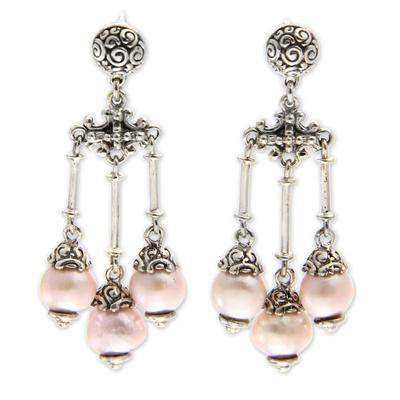 Cultured pearl chandelier earrings, 'Trinity in Pink' - Pink Cultured Pearl Chandelier Earrings