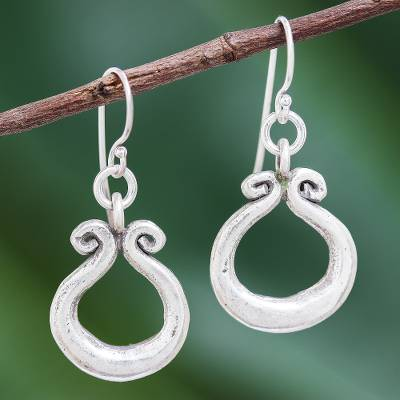 Silver dangle earrings, 'Organic Ring' - Karen Hill Tribe Silver Circle Window Dangle Earrings