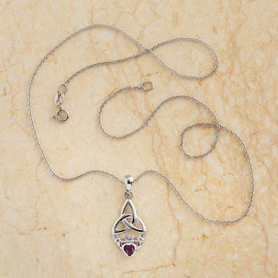 Amethyst pendant necklace, 'Claddagh' - Amethyst and Sterling Silver Claddagh Necklace