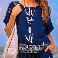 Rayon batik top, 'Midnight Fall' - Short-Sleeved Women's Rayon Batik Top in Navy