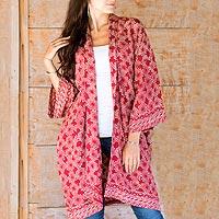 Short rayon batik kimono, 'Ruby Red Nebula'