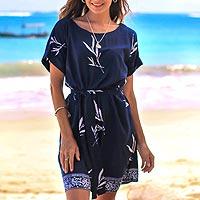 Rayon batik shift dress, 'Midnight Fall' - Batik Rayon Shift Dress in Midnight and White