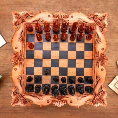 Wood chess set, 'The Sea,' - Handcarved Wood Chess Set