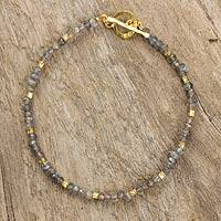 Labradorite and gold plated bead bracelet, 'Simply Delightful' - Fair Trade Labradorite and 24k Gold Plate Bracelet