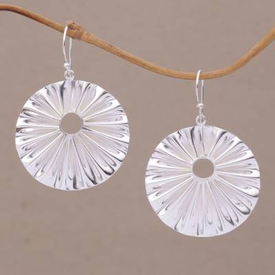 Sterling silver dangle earrings, 'Limpet' - Limpet Shell Shaped Sterling Silver Dangle Earrings